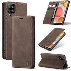 CaseMe - Case for Samsung Galaxy A42 5G - PU Leather Wallet Case Card Slot Kickstand Magnetic Closure - Dark Brown