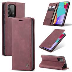 CaseMe - Samsung Galaxy A52 5G hoesje - Wallet Book Case - Magneetsluiting - Donker Rood