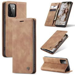 CaseMe - Case for Samsung Galaxy A72 5G - PU Leather Wallet Case Card Slot Kickstand Magnetic Closure - Light Brown