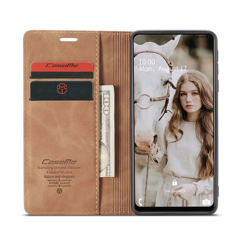 CaseMe CaseMe - Samsung Galaxy A72 5G hoesje - Wallet Book Case - Magneetsluiting - Licht Bruin