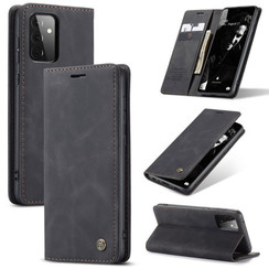 CaseMe - Case for Samsung Galaxy A72 5G - PU Leather Wallet Case Card Slot Kickstand Magnetic Closure - Black