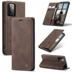 CaseMe - Case for Samsung Galaxy A72 5G - PU Leather Wallet Case Card Slot Kickstand Magnetic Closure - Dark Brown