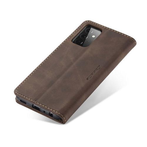 CaseMe CaseMe - Samsung Galaxy A72 5G hoesje - Wallet Book Case - Magneetsluiting - Donker Bruin