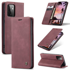 CaseMe - Case for Samsung Galaxy A72 5G - PU Leather Wallet Case Card Slot Kickstand Magnetic Closure - Dark Red