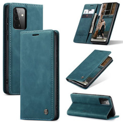 CaseMe - Case for Samsung Galaxy A72 5G - PU Leather Wallet Case Card Slot Kickstand Magnetic Closure - Blue