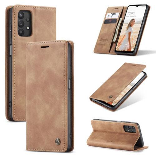 CaseMe CaseMe - Samsung Galaxy A32 5G hoesje - Wallet Book Case - Magneetsluiting - Licht Bruin