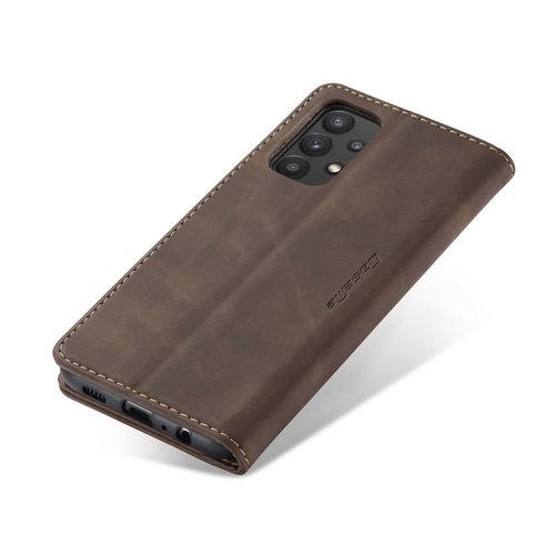 CaseMe CaseMe - Samsung Galaxy A32 5G hoesje - Wallet Book Case - Magneetsluiting - Donker Bruin