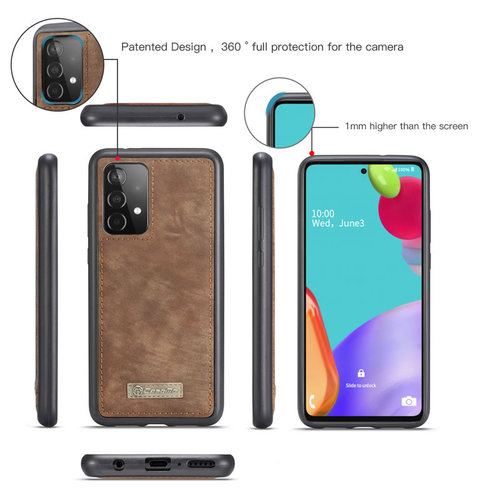 CaseMe CaseMe - Samsung Galaxy A52 5G Hoesje - 2 in 1 Back Cover - Bruin