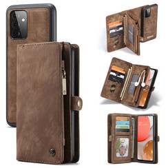 CaseMe - Case for Samsung Galaxy A72 5G - Wallet Case with Card Holder, Magnetic Detachable Cover - Brown