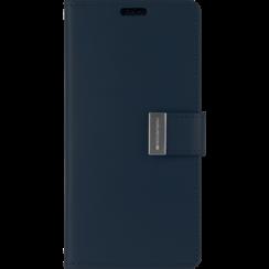 iPhone 12 / 12 Pro Hoesje - Goospery Rich Diary Case  - Hoesje met Pasjeshouder - Donker Blauw