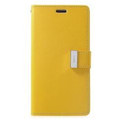 iPhone 12 / 12 Pro Hoesje - Goospery Rich Diary Case  - Hoesje met Pasjeshouder - Geel