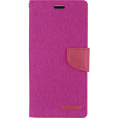 Samsung Galaxy S21 Hoesje - Mercury Canvas Diary Wallet Case - Hoesje met Pasjeshouder - Roze