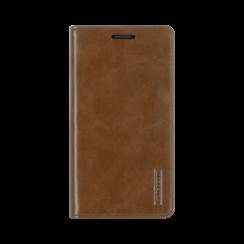 iPhone 12 / 12 Pro Hoesje - Blue Moon Flip Case - Met pasjeshouder - Bruin