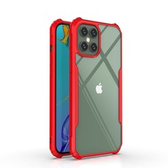 iPhone 11 Pro Max Hoesje - Super Protect Slim Bumper - Back Cover - Rood/Transparant