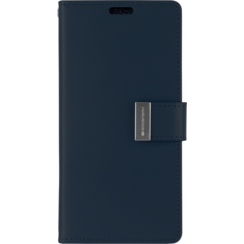 Samsung Galaxy S21 Ultra Hoesje - Goospery Rich Diary Case - Hoesje met Pasjeshouder - Donker Blauw