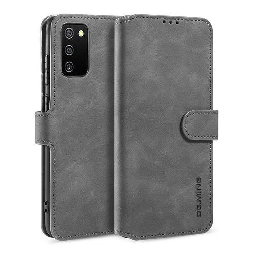CaseMe CaseMe - Samsung Galaxy A02s Hoesje - Met Magnetische Sluiting - Ming Serie - Leren Book Case -Grijs