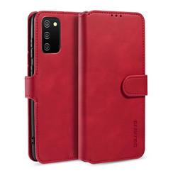 CaseMe - Samsung Galaxy A02s Hoesje - Met Magnetische Sluiting - Ming Serie - Leren Book Case -Rood