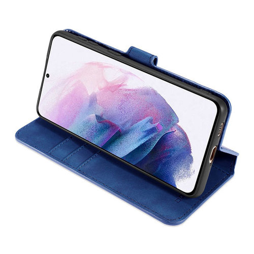 CaseMe CaseMe - Samsung Galaxy A02s Hoesje - Met Magnetische Sluiting - Ming Serie - Leren Book Case -Blauw