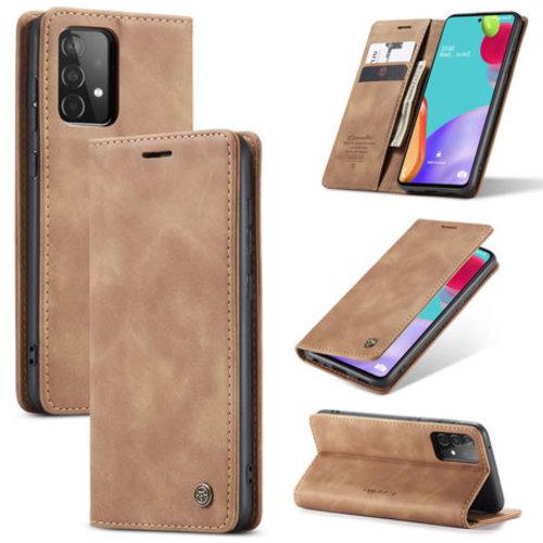 CaseMe CaseMe - Samsung Galaxy A02s Hoesje - Wallet Book Case - Magneetsluiting - Licht Bruin