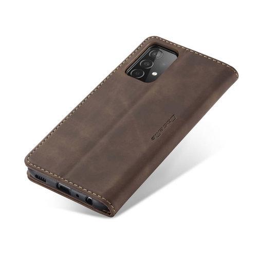 CaseMe CaseMe - Samsung Galaxy A02s Hoesje - Wallet Book Caseac - Magneetsluiting - Donker Bruin