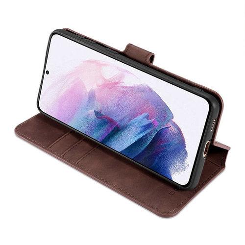 CaseMe CaseMe - Samsung Galaxy A02s Hoesje - Met Magnetische Sluiting - Ming Serie - Leren Book Case - Donker Bruin