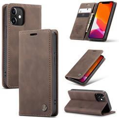 CaseMe - iPhone 12 hoesje - Wallet Book Case - Magneetsluiting - Donker Bruin
