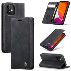CaseMe - iPhone 12 hoesje - Wallet Book Case - Magneetsluiting - Zwart