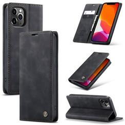 CaseMe - iPhone 12 Pro hoesje - Wallet Book Case - Magneetsluiting - Zwart