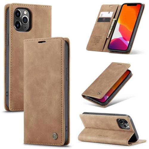 CaseMe CaseMe - iPhone 12 Pro hoesje - Wallet Book Case - Magneetsluiting - Bruin