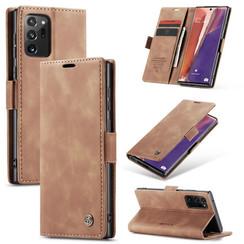CaseMe - Samsung Galaxy Note 20 hoesje - Wallet Book Case - Magneetsluiting - Bruin