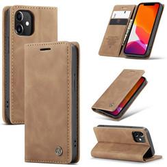 CaseMe - iPhone 12 Mini hoesje - Wallet Book Case - Magneetsluiting - Bruin