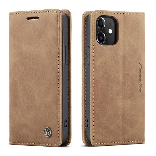 CaseMe CaseMe - iPhone 12 Mini hoesje - Wallet Book Case - Magneetsluiting - Bruin