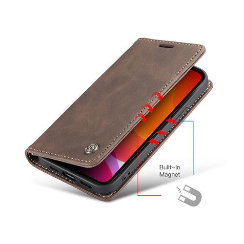 CaseMe CaseMe - iPhone 12 Mini hoesje - Wallet Book Case - Magneetsluiting - Donker Bruin