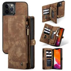 CaseMe - iPhone 12 / 12 Pro hoesje - 2 in 1 Wallet Book Case - Bruin