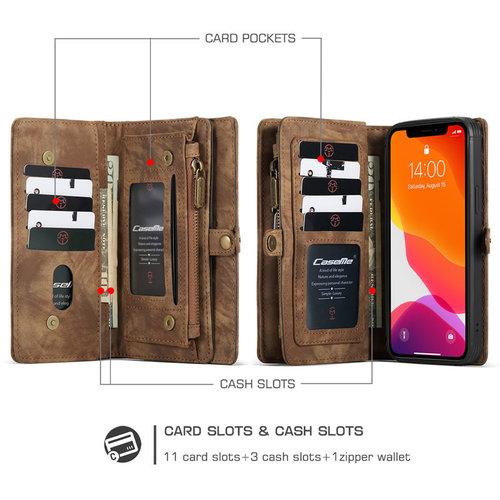 CaseMe CaseMe - iPhone 12 / 12 Pro hoesje - 2 in 1 Wallet Book Case - Bruin