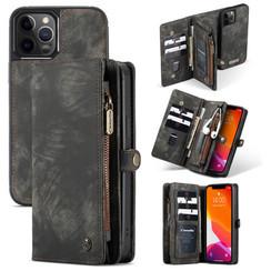 CaseMe - iPhone 12 Pro Max hoesje - 2 in 1 Wallet Book Case - Zwart