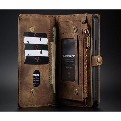CaseMe CaseMe - iPhone 12 Pro Max hoesje - 2 in 1 Wallet Book Case - Bruin