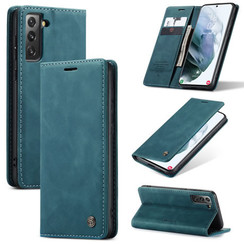 CaseMe - Samsung Galaxy S21 hoesje - Wallet Book Case - Magneetsluiting - Blauw