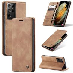 CaseMe - Samsung Galaxy S21 Ultra  hoesje - Wallet Book Case - Magneetsluiting -  Licht Bruin