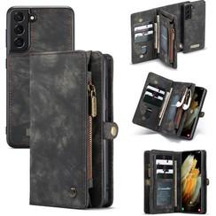 CaseMe - Samsung Galaxy S21 Hoesje - 2 in 1 Back Cover - Zwart