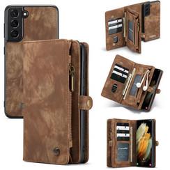CaseMe - Samsung Galaxy S21 Hoesje - 2 in 1 Back Cover - Bruin