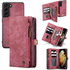 CaseMe - Samsung Galaxy S21 Hoesje - 2 in 1 Back Cover - Rood