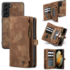 CaseMe - Samsung Galaxy S21 Plus Hoesje - 2 in 1 Back Cover - Bruin