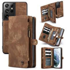 CaseMe - Samsung Galaxy S21 Ultra Hoesje - 2 in 1 Back Cover - Bruin
