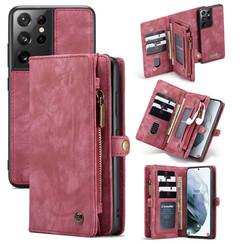 CaseMe - Samsung Galaxy S21 Ultra Hoesje - 2 in 1 Back Cover - Rood