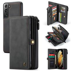 CaseMe - Samsung Galaxy S21 Hoesje - Back Cover en Wallet Book Case - Multifunctioneel - Zwart