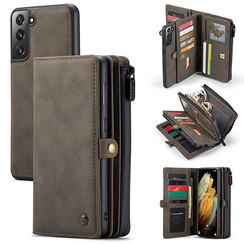CaseMe - Samsung Galaxy S21 Hoesje - Back Cover en Wallet Book Case - Multifunctioneel - Bruin