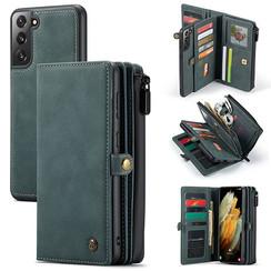 CaseMe - Samsung Galaxy S21 Hoesje - Back Cover en Wallet Book Case - Multifunctioneel - Blauw