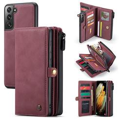 CaseMe - Samsung Galaxy S21 Hoesje - Back Cover en Wallet Book Case - Multifunctioneel - Rood