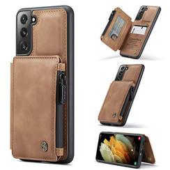 CaseMe - Samsung Galaxy S21 Hoesje - Back Cover - met RFID Pasjeshouder - Licht Bruin